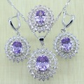Reginababy Sunflower Silver color Purple Amethyst created Topaz Earrings Jewelry Sets Women Wedding Earrings/Ring/Necklace