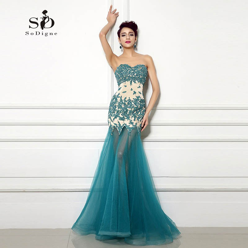 4507550d04e7 Sexy Evening Dress Mermaid Turquoise Sweetheart Lace Appliques with beads  2018 Long Evening Gowns Tulle Dress Custom Made