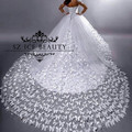 Luxury Butterfly Applique Chapel Train Wedding Dress Long Sleeves Sweetheart Sheer Puffy A Line White Bridal Gown 2017 Casamento