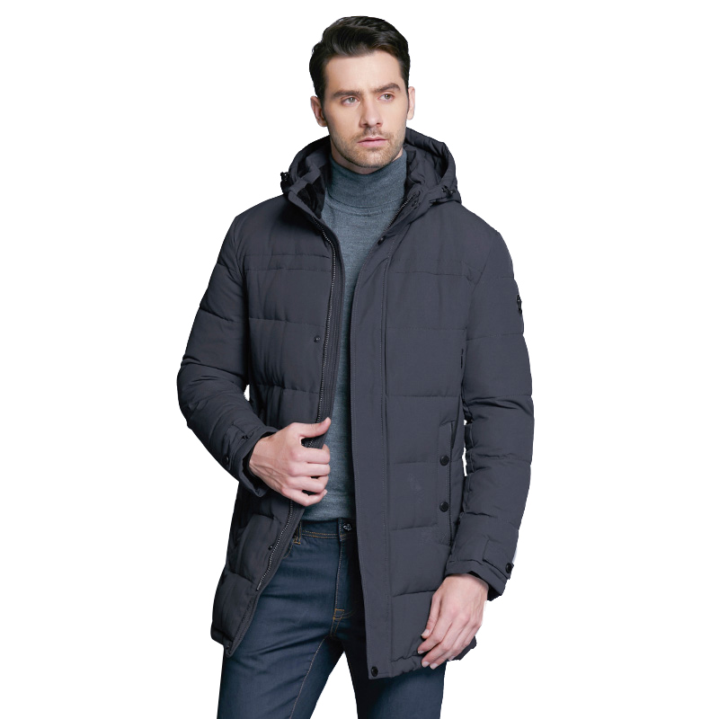 ICEbear 2018 Winter Mid-Long  Men's Jacket Thickening Casual Cotton Jackets Winter Parka Men Brand Coat 17MD962D pu leather spliced rib hem epaulet design stand collar long sleeves slimming jacket for men