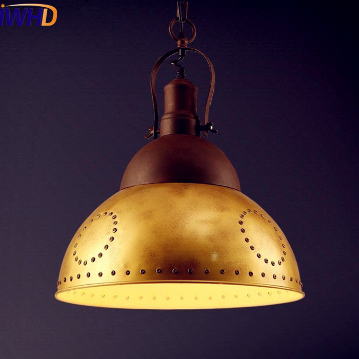 IWHD Gold Retro Loft Style Industrial Lighting LED Edison Pendant Lights Fixtures Bar Dinning Room Vintage Lamp Hanglamp Lampe
