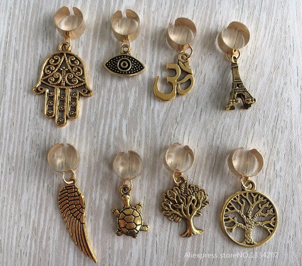Free Shipping 8pcs Lot Gold Plated Adjule Hair Braid Dread Dreadlock Beads Clips Cuff
