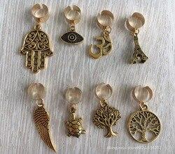 Freies verschiffen 8 teile/los gold einstellbare haar braid furcht dreadlock perlen clips manschette Charme für Haar Styling Zubehör