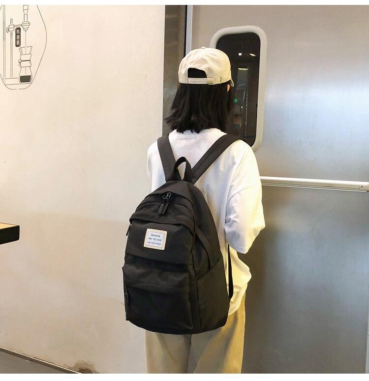 HTB1kQ0qTIfpK1RjSZFOq6y6nFXay Nylon Backpack Women Backpack Solid Color Travel Bag Large Shoulder Bag For Teenage Girl Student School Bag Bagpack Rucksack