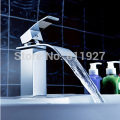 high quality brass waterfall basin tap bathroom faucet mixer torneira banheiro hot and cold water KF29