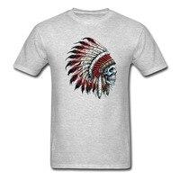 Feathered Native American Ấn Độ Trưởng Sọ T-Shirt Nam và phụ nữ tee euro kích thước-XXXL