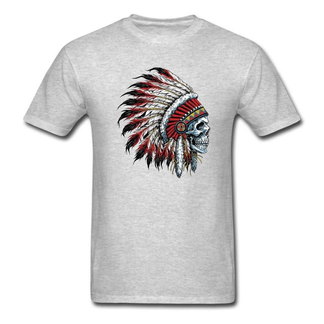 5d9921194fe Feathered Native American Indian Chief Skull T-Shirt Men and women tee euro  sizeS-XXXL