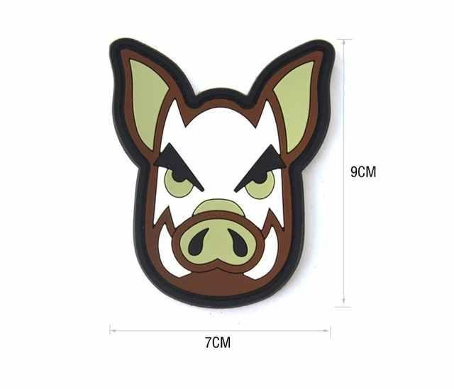 חזיר ראש חזיר בר חזיר טקטי מורל תיקון חזיר מגובה PVC גומי תיקון Airsoft מורל תג תיקון