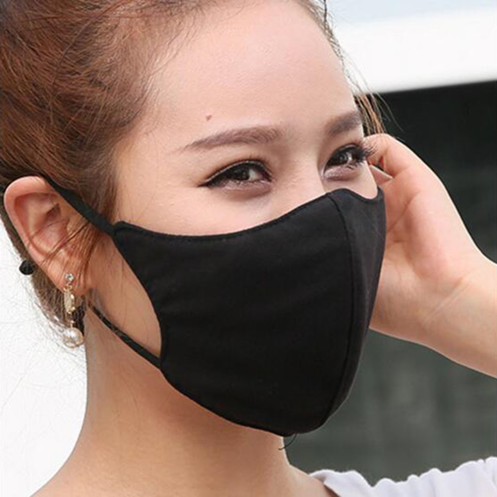 Adjustable Unisex Black Health Cycling Anti-Dust Cotton Mouth Face Mask Respirator