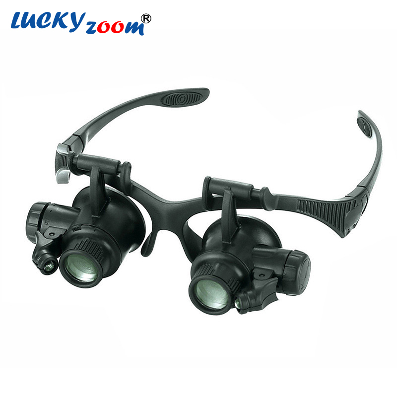 Headband 10X 15X 20X 25X LED Light Glasses Magnifier Watchmaker Jewelry Optical Lens Glass Magnifier Loupe Free Shipping new design binocular glasses type 20x watch repair magnifier with led light drop shipping shipping