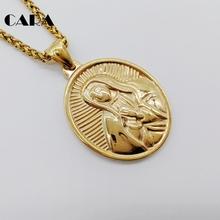 2019 New Gold color oval virgin Mary pendant necklace Stainless steel religious Christian fashion Virgin mary necklace CARA0557 virgin mary necklace dainty gold medallion necklace mother mary pendant religious catholic gift