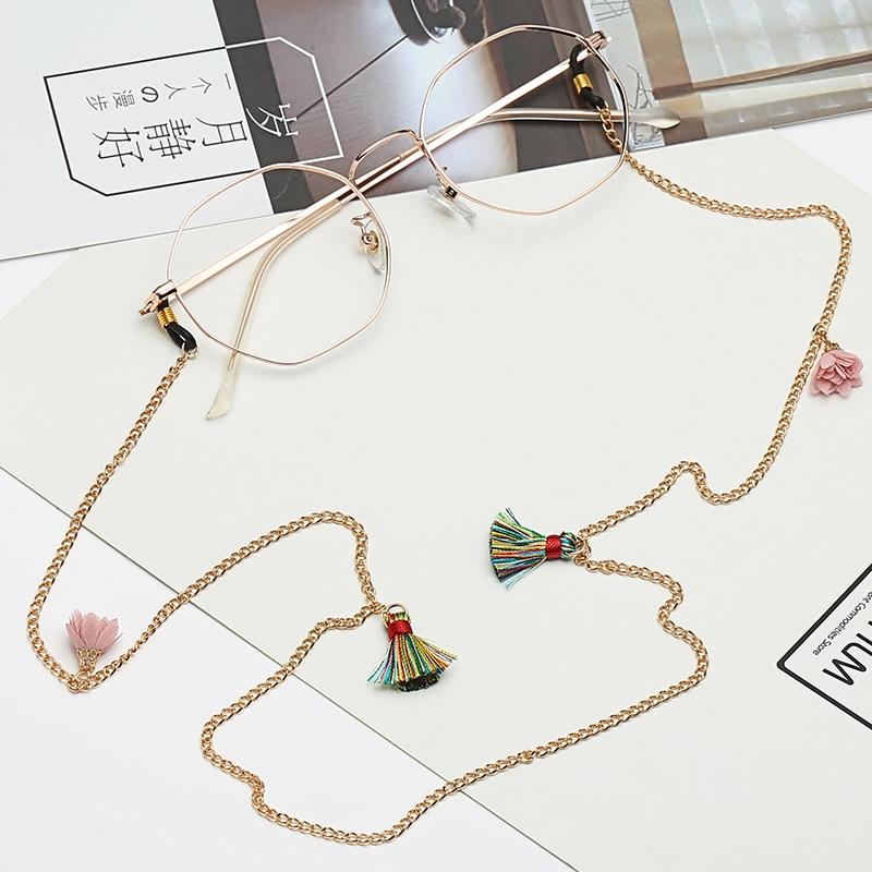 Lolita simple retro sunglasses chain hanging neck old flower sunglasses eye chain