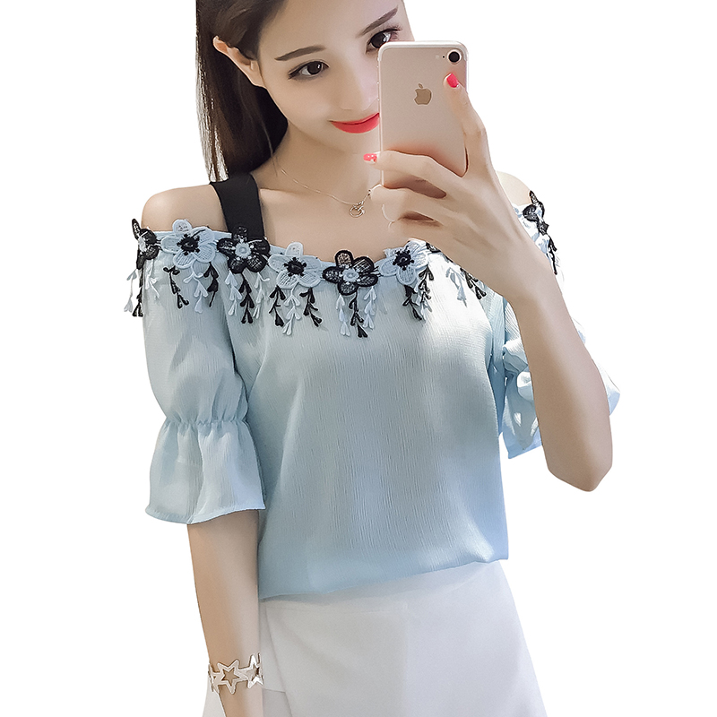 Manga Ropa Mujeres Corta Las Femenina white Flores De Camisa Hombro Mujer Blue Blusas Sky Tops Blusa 512 Moda 2019 nqxXzHP8wC