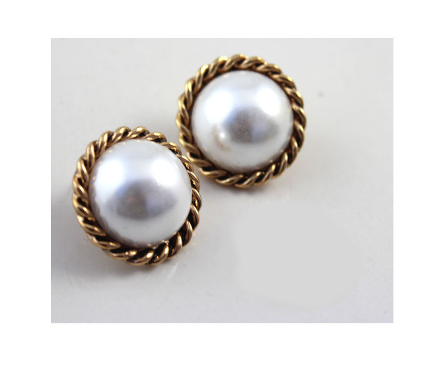 Stud Earrings Fashion Retro Silver Pearl Double Round Earrings For Women Charms ABC