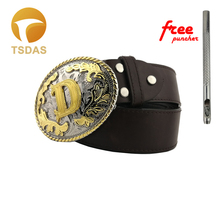 13 Different Styles Western Golden Initial Letter Mens Belt Buckle A-M With Oval Shape Metal Head Drop Shipping