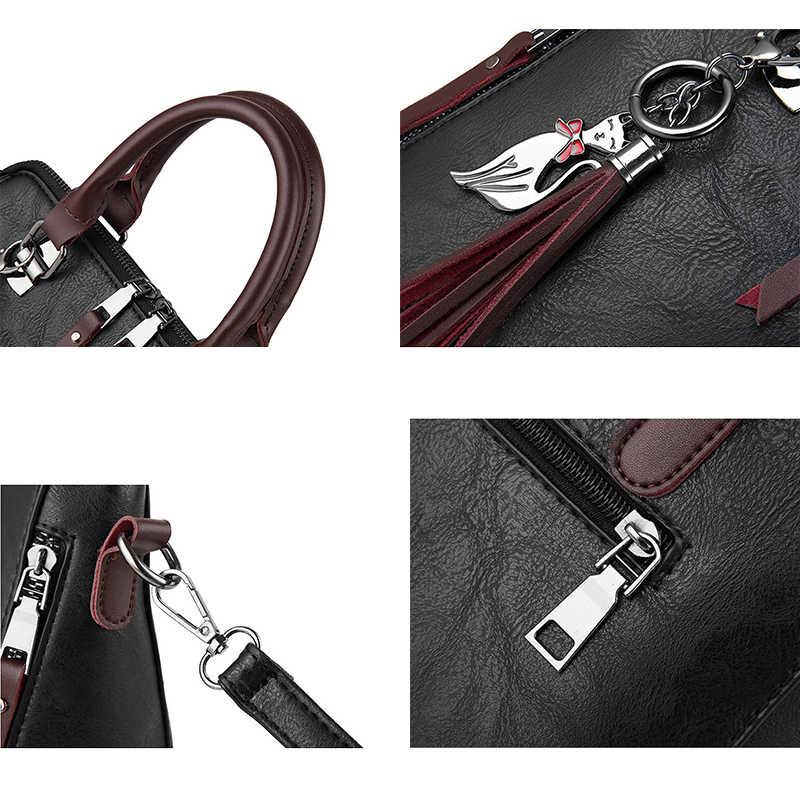 Винтажная кожаная сумка SMOOZA, женская сумка-мессенджер с кисточками, дизайнерские сумки через плечо, бостонские ручные сумки