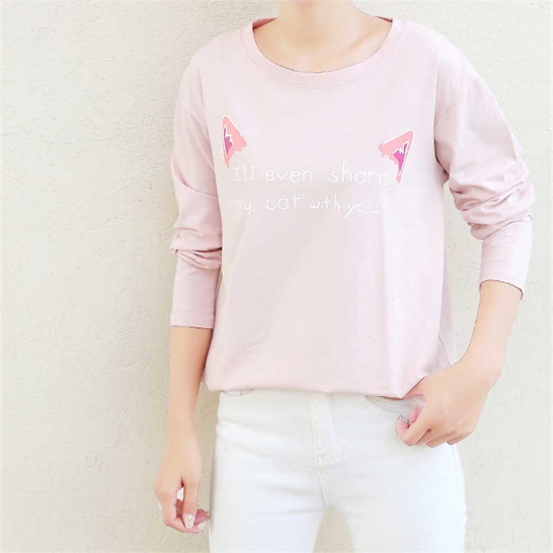 Jielur Осенняя Милая женская футболка для отдыха Повседневная Свободная футболка с принтом букв для девочек футболки с длинными рукавами для женщин m-xxl