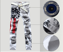2016 New Men Italy Style Jean Fashion Jeans 100 Cotton Long Trousers Graffiti USA Flag Painted