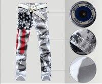 Nieuwe Mannen Italië Stijl Jean Mode Jeans 100% Katoen Lange Broek Graffiti USA Vlag Geschilderd Jeans Heren Denim Jeans Broek