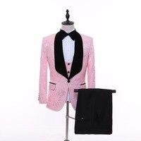 New Style Pink Design Shawl Lapel Groom Tuxedos Prom Suits With Black Pants Wedding Best Man Blazer (Jacket+Pants+Vest) C893