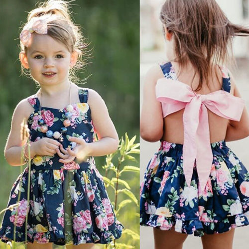 6dc1a5855c66e US $3.83 40% OFF|New Princess Girl Navy Floral Dress Strap Bowknot Cotton  Summer Kid Baby Girl Wedding Party Gown Dress Holiday Beach Sundress-in ...