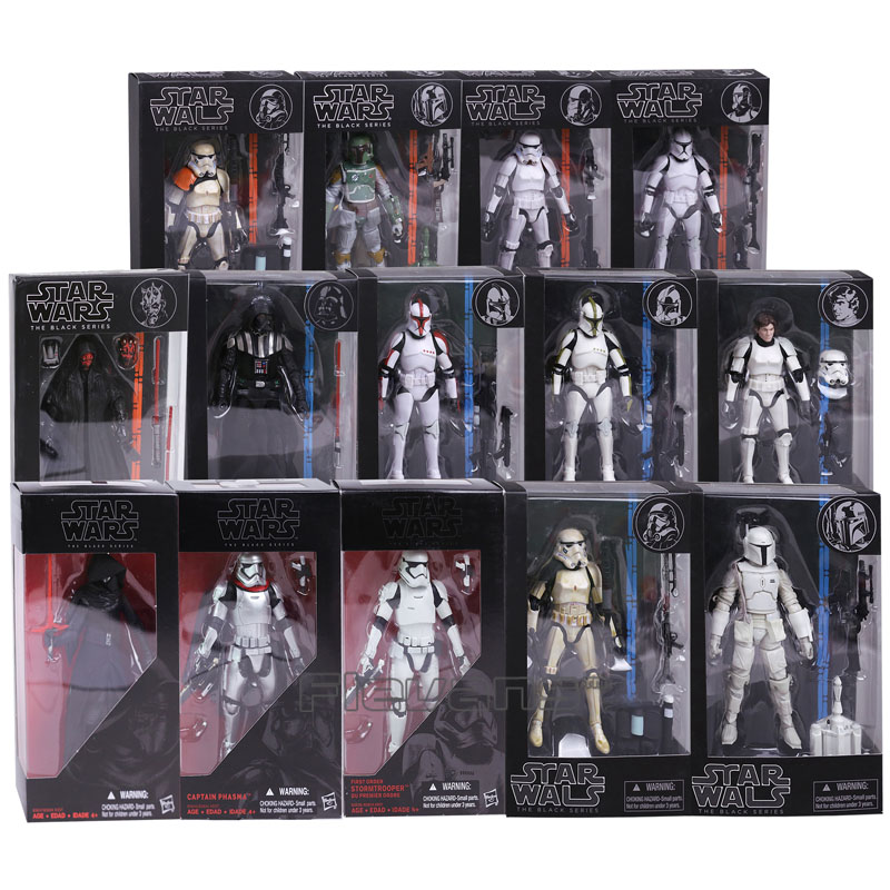 купить Star Wars The Black Series Kylo Ren Stormtrooper Phasma Darth Maul Darth Vader Hab Solo PVC Action Figure Toy 14 Types онлайн