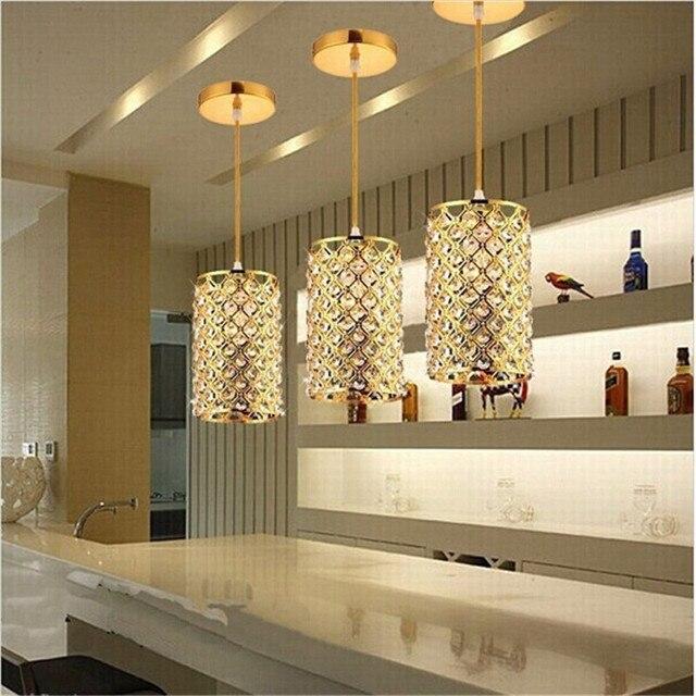 SJHZ Chrome LED Pendant Lights Modern Gold Crystal for Dining Room Light Fixtures