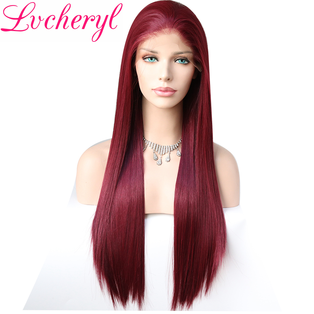 Lvcheryl Hand Tied 13x6 Burgundy Color Free Part Futura Fiber Hair Wigs Long Heat Resistant Synthetic