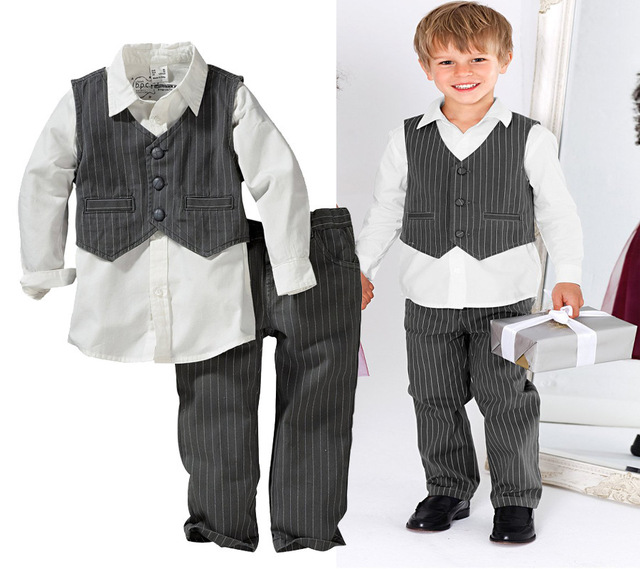 children autumn boys clothing set kids gentlemen clothes suits baby outfit  3pcs set stripe vest + white t-shirt + long pants dab99582b