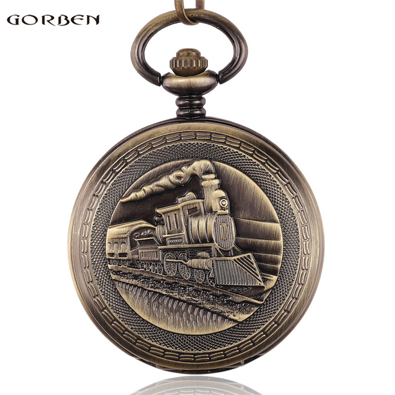 Antique Train Pocket Watch 2 Sides Open Roman Numerals Dial Mechanical Hand Wind Pocket Watches Men Women Clock Fob Chain Gifts roman numerals skeleton watches steampunk pocket watch with chain 2 sides open case luxury brand mechanical pocket watch