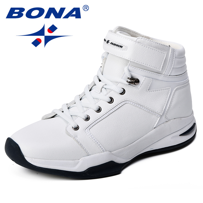 BONA 2018 Men Basketball Shoes Cow Split Synthetic Sport Shoes Breathable Outdoor Jogging Shoes Comfortable High Upper Sneakers image