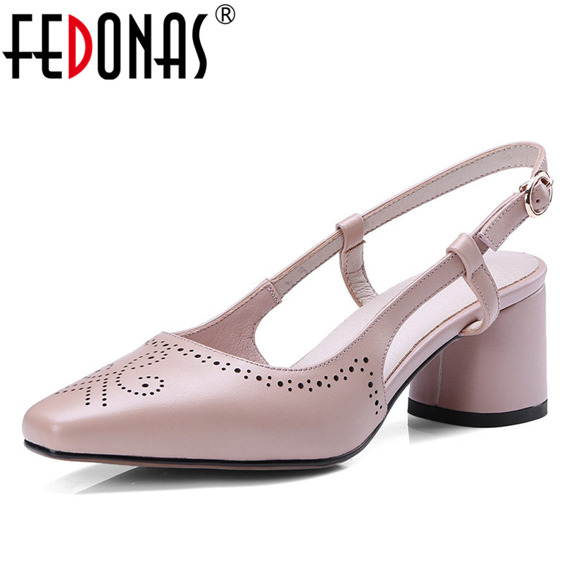 FEDONAS New Natural Genuine Leather High Heels Women Pumps Ankle Strap Square Toe Summer Sandals Sweet