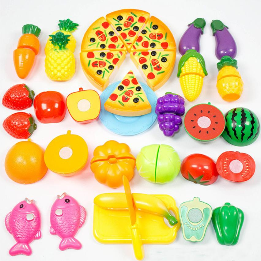 24 Pieces Kitchen Dinner Cutting Treats Fun Play Food Set Living Toys gift for Kids brinquedos materiel loisirs creatif great