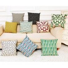 Fundas de almohadas de patrones con letras en línea, funda de almohada de tela Súper suave, cojín para el hogar, fundas de almohada para cama con diseño geométrico Simple