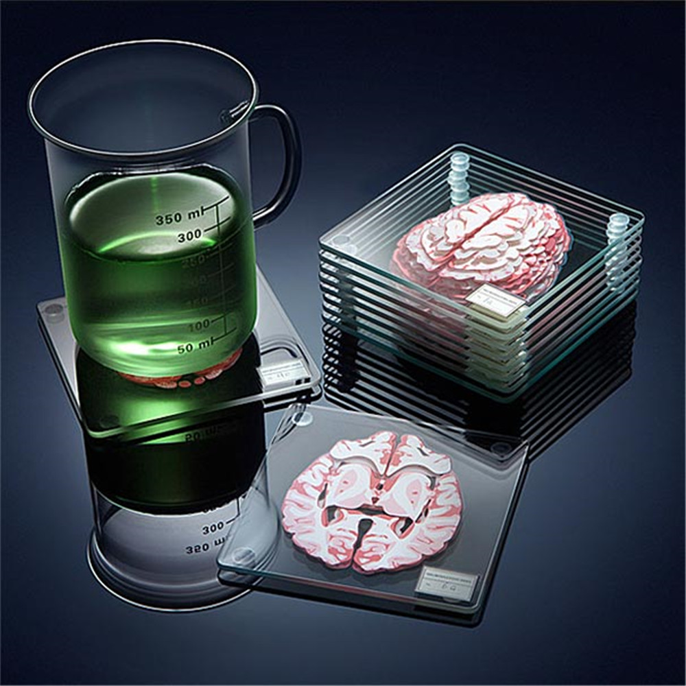 Brain Specimen Coasters Set 3D Organ Brain Artwork Brain Slices Square Acrylic Glass Drinks Table Coaster Drunk Scientists Gift