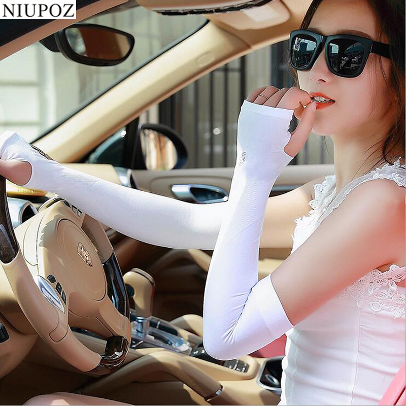 Fashion Ice Silk Cold Arm Warmers Without Fingers Half Finger Gloves UV Protection Sun Protection Cycling Running Sleeve G53