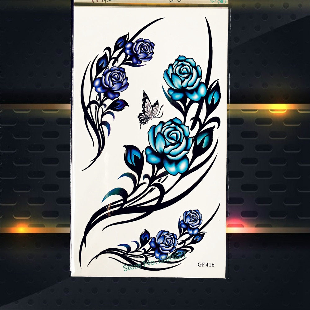 3D DIY Roses Temporary Tattoo Women Body ARt ARm Tattoo Stickers PGF416 Henna Lace Tatto ...