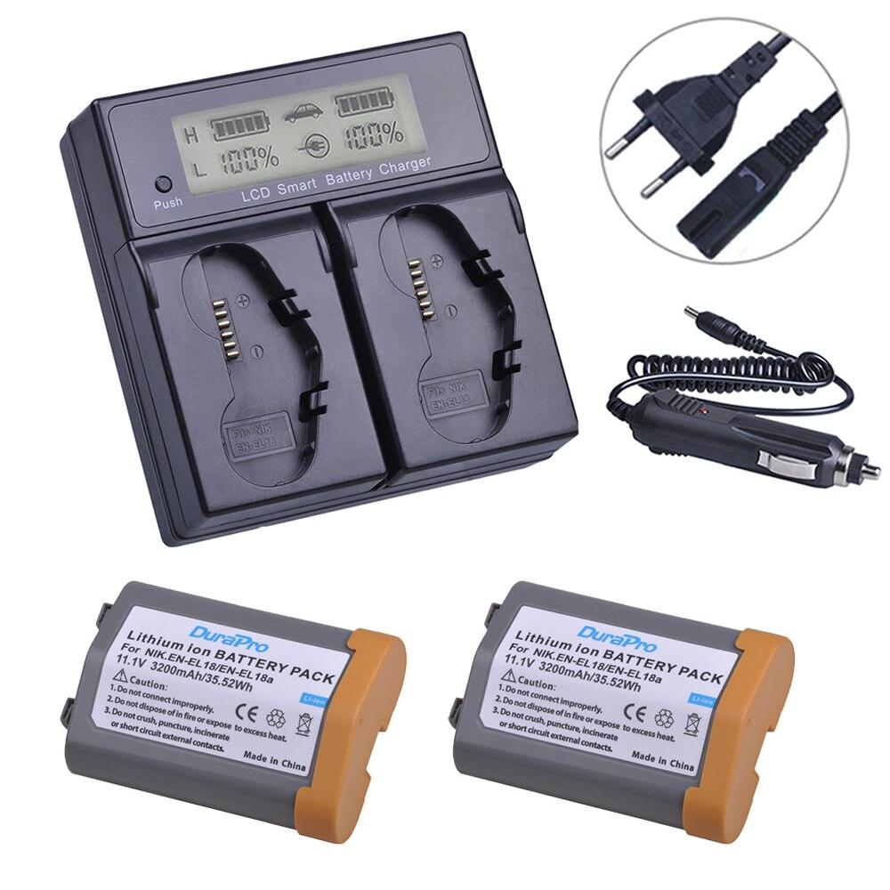 2Pc 3200mAh EN-EL18 EN-EL18a EN EL18 ENEL18a batterie + écran LCD double chargeur rapide intelligent pour Nikon D4,D4S,D5 appareil photo reflex numérique