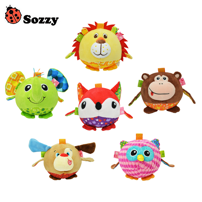 Sozzy Baby Colorful Soft Stuffed Plush Animal Bed Rattles Bell Cloth Ball Elephant Early Education Developmental Hand Grasp Toy цена