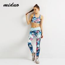 Miduo New Women s Yoga Sets Fitness Sportswear Suits Yoga Shirts Running Gym Yoga Top And