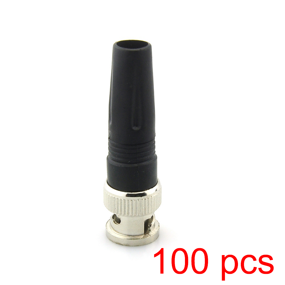 100x Solderless BNC Male Straight Angle Plug Connector Pin For CCTV Camera