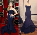 Free Shipping Vintage Seyfried Red Carpet Girls Gown Navy Blue Satin Evening Dress Sexy Cheap Mermaid Celebrity Dresses