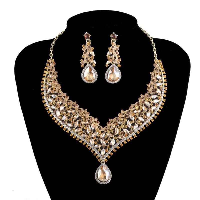 India New crystal Necklace sets bridal wedding Party Jewelry sets rhinestone topaz color Shampagne rhinestone Dress