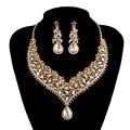India Nuevo Collar de cristal conjuntos de Joyería de la boda nupcial establece rhinestone Champagne rhinestone Accesorios De Vestir