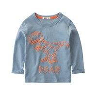 아기 소년 만화 공룡 긴 소매 T 셔츠 아동 의류 유아 코튼 탑 티 키즈 베베 흰색 티셔츠 스웨터 2-7Y