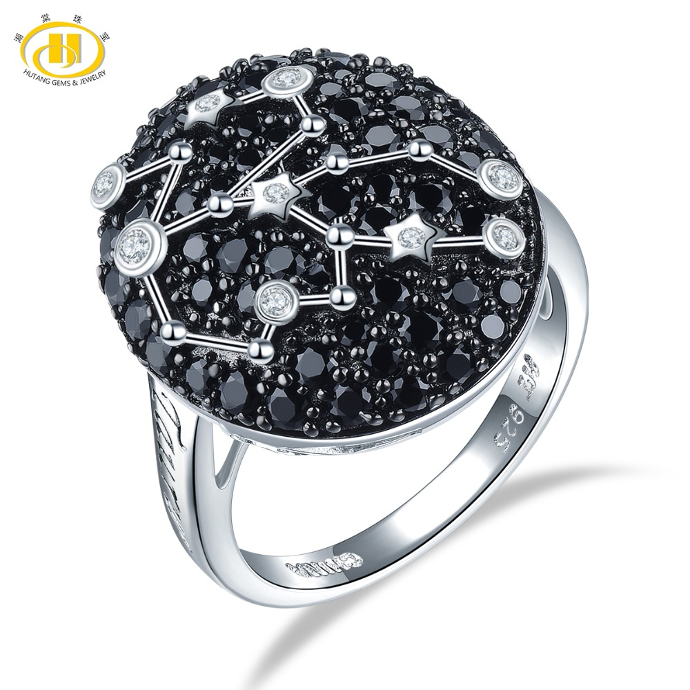 Hutang Taurus Sign Rings Natural Black Spinel 925 Silver Ring Fine Gemstone Jewelry Birthday Gift 20th