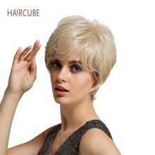 Haircube Short Blonde Synthetic Women's Wig with Bangs Mixed 50% Real Human Hair Natural Looking and Long Lasting Styling(China)