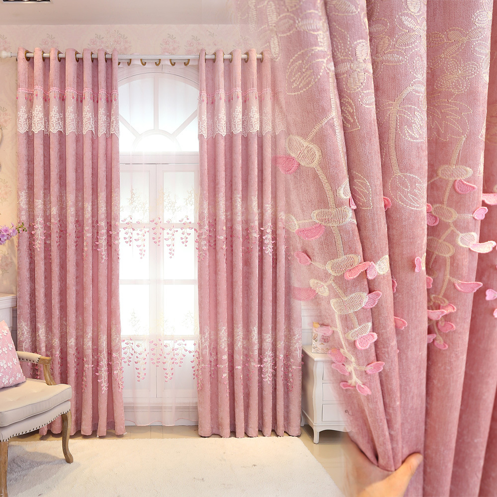 Pink Princess Curtains For Girls Room Flocked Flower