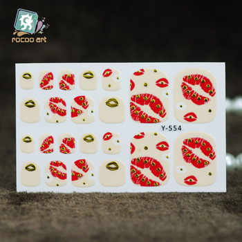 Rocooart Y5553-5559 Colorful Diamond Lips Stars Designs Toe Nail Art Sticker Fruits Flowers Adhesive Toe Nail Decal Nail Wraps image