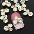 2016 Top Quality 10Pcs 3D Alloy Glitter Rhinestone Different Styles Nail Art  Salon  Stickers Tips DIY Decorations 8B2C
